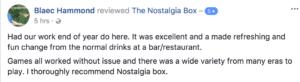 The Nostalgia Box Corporate event testimonial