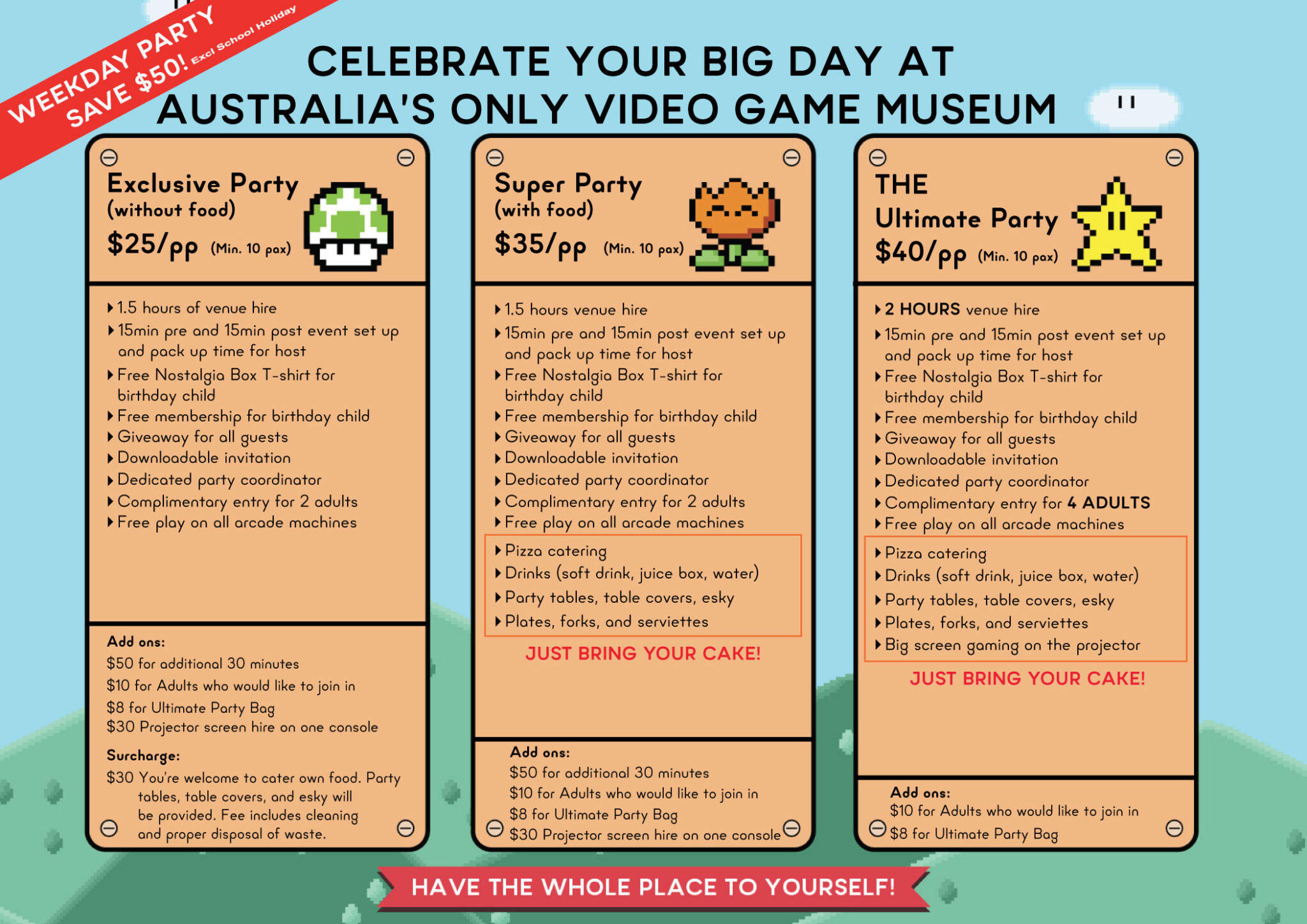 Kids Party Package No Parking