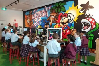 The Nostalgia Box - School Excursion - Children Playing in the Games Area