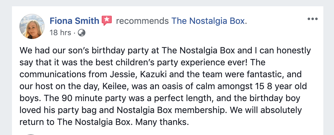 The Nostalgia Box Review - Children Birthday Party